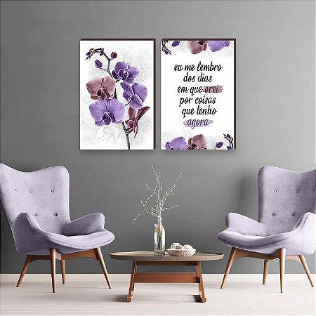 Dupla de quadros Orquídea + Eu me lembro dos dias em que orei Roxo e Rosa [boxdemadeira]