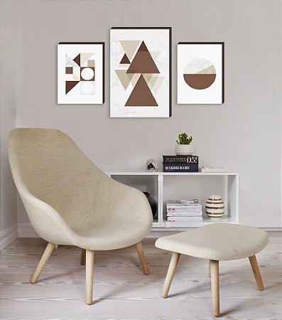 Trio de quadros Geométricos Marrom [BoxMadeira]