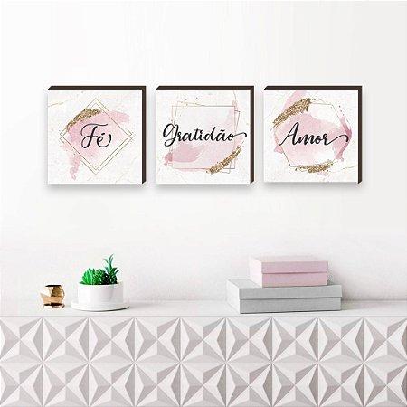 Trio de quadros Fé, Gratidão e Amor rosa dourado [BoxMadeira]