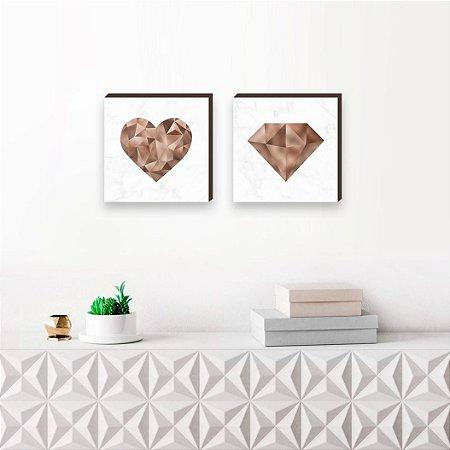 Dupla de quadros Coração + Diamante rosê gold [Box de madeira]