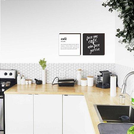 Dupla de quadros para cozinha Faça um café, não faça guerra [Box de madeira]
