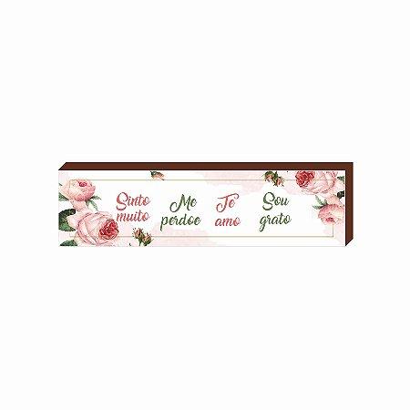 Caixinha Ho'oponopono Flor Rosa [BOX DE MADEIRA]