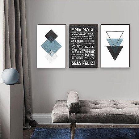 Trio de quadros Ame mais + Geométricos Triângulos azul e cinza [BOX DE MADEIRA]