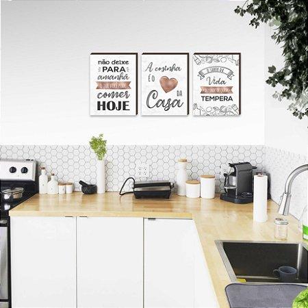 Trio de quadros A cozinha é o coração da casa Rose Gold Marmorizado  [Box de madeira]
