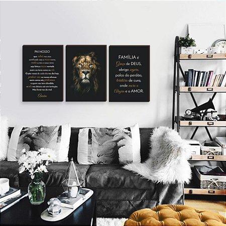 Trio de quadros Leão Iluminado Família e Oração Pai Nosso [BOX DE MADEIRA]