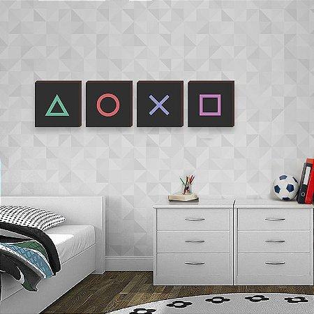 Quarteto de quadros Playstation [BOX DE MADEIRA]