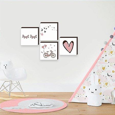 Quarteto de quadros infantil Bicicleta + Cílios + Coração + Pássaros [BOX DE MADEIRA]