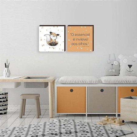 Dupla de quadros infantil O essencial raposa [Box de madeira]