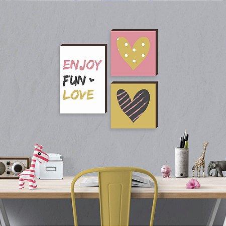 Trio de Quadros infantil Enjoy Fun Love [BoxMadeira]