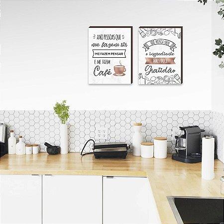 Dupla de quadros para cozinha Amo pessoas que me fazem café + O ingrediente mais doce Rose Gold[boxdemadeira]