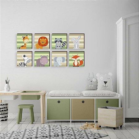 Kit de quadros infantil Bichos verde e bege [box de madeira]
