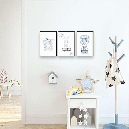 Trio de quadros Bichos + Balão + Sonhe Alto MENINO [BoxMadeira]