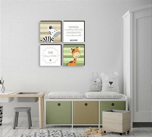 Quarteto de quadros Filhos Herança do Senhor Zebra + Girafa VERDE E BEGE [BOX DE MADEIRA]