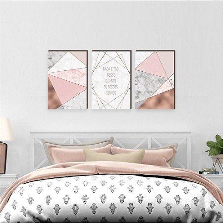 Trio de quadros Nada é tão Nosso Abstrato Rose gold [BOX DE MADEIRA]