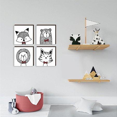 Quarteto de quadros infantil Bichos Gravatinha VERMELHO [BOX DE MADEIRA]