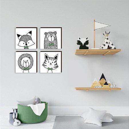 Quarteto de quadros infantil Bichos Gravatinha VERDE [BOX DE MADEIRA]