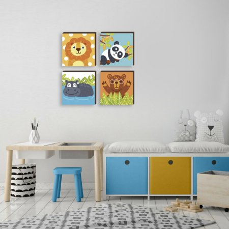 Quarteto de quadros infantil Bichos Zoo Coloridos [BOX DE MADEIRA]