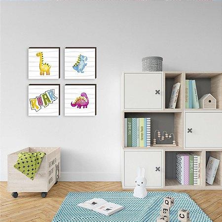 Quarteto de quadros infantil Dinossauros Roar [BOX DE MADEIRA]