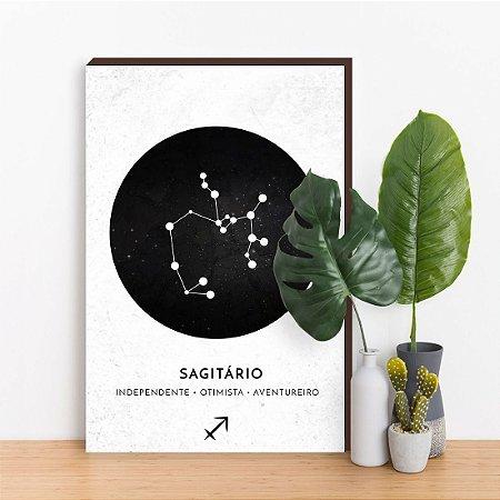 Quadro Decorativo Signos SAGITÁRIO branco [BoxMadeira]