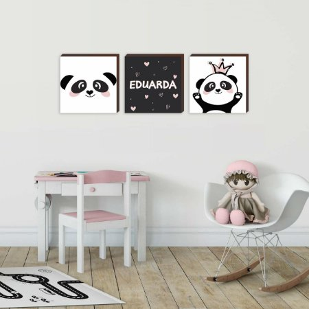 Trio de quadros infantil Panda princesa + Nome [BoxMadeira]