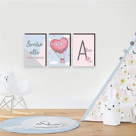 Trio de quadros infantil Balão de ar + Nome + Sonhe alto [BoxMadeira]