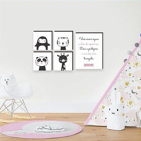 Kit de quadros infantil Você viverá segura + Bichos MENINA [box de madeira]