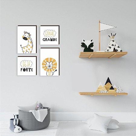 Quarteto de quadros infantil Sonhe grande Seja forte [box de madeira]