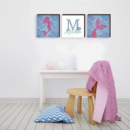 Trio de quadros infantil Sereia + Nome + Calda de sereia [BoxMadeira]
