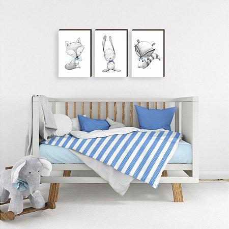 Trio de Quadros infantil Bichos preto e branco GRAVATA azul [BoxMadeira]