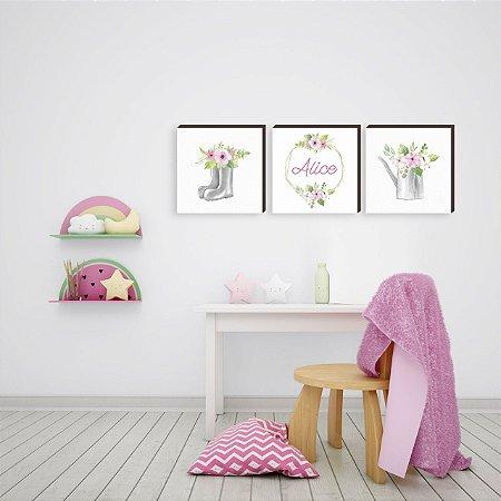 Trio de quadros infantil Jardim + Nome [BoxMadeira]