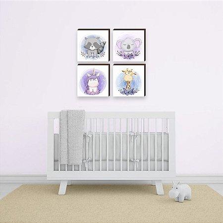 Quarteto de quadros infantil Bichos flor fundo aquarela [BOX DE MADEIRA]