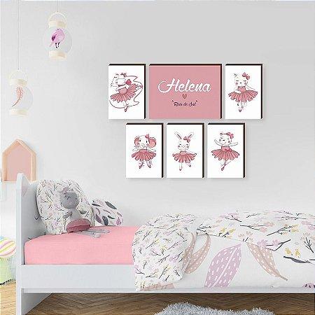 Kit de quadros infantil Bailarinas + Nome [box de madeira]