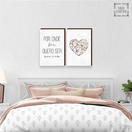 Dupla de Quadros decorativos Por onde for + Coração geométrico Rose gold Marmorizado [BOX DE MADEIRA]