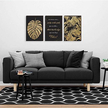 Trio de Quadros Costela de Adão + Frase + Folhagem preto e dourado [BOX DE MADEIRA]