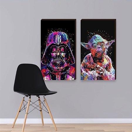 Dupla de quadros Star Wars Aquarela [Box de Madeira]