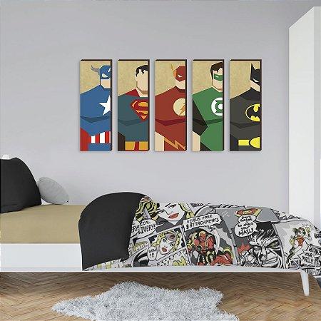 Kit de quadros Super Heróis 20x60- Capitão América, Super Homem, Flash, Lanterna Verde e Batman [box de madeira]