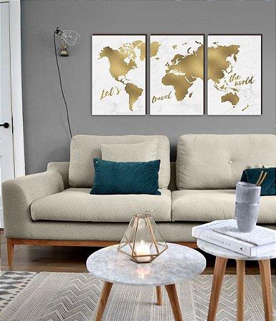 Quadros Trio Mapa Mundi Dourado [BOX DE MADEIRA]