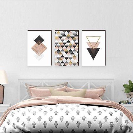 Trio de quadros Geométricos Rosa, Dourado e Preto [BOX DE MADEIRA]