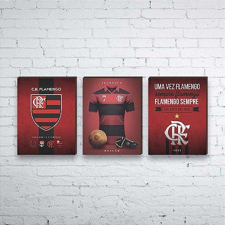 Trio de quadros Time Flamengo [BOX DE MADEIRA]