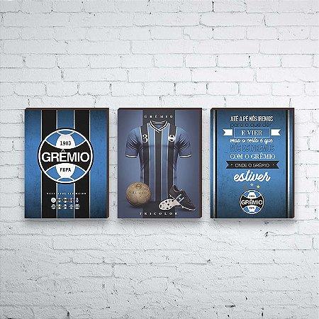 Trio de quadros Time Grêmio [BOX DE MADEIRA]