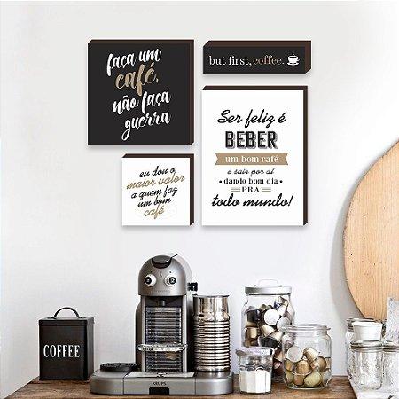 Kit de quadros Cantinho do café Bege [Box de Madeira]