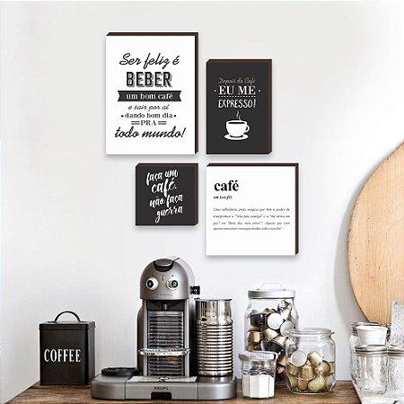 Kit de quadros Cantinho do café preto e branco [box de madeira]