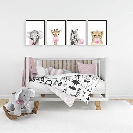 Quarteto de Quadros infantil Animais chiclete rosa [BoxMadeira]