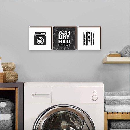 Trio de quadros Lavar, secar, dobrar, repetir PB em INGLÊS [BoxMadeira]