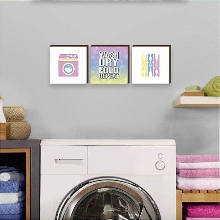 Trio de quadros Lavar, secar, dobrar, repetir COLORIDO em INGLÊS [BoxMadeira]