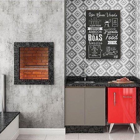 Quadro decorativo para cozinha Seja bem vindo FUNDO QUADRO NEGRO- Chalkboard churrasco [BOX DE MADEIRA]