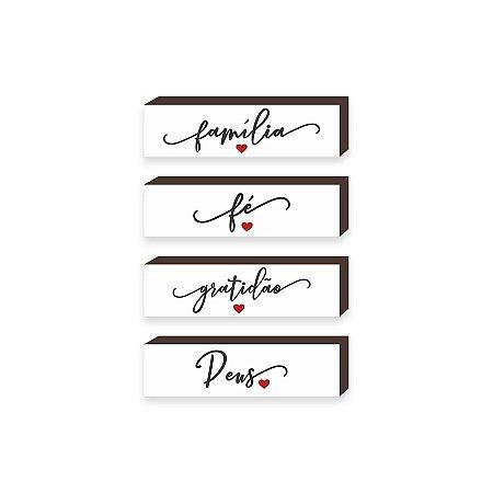 Quarteto caixinhas Família, Fé, Gratidão e Deus - Branco