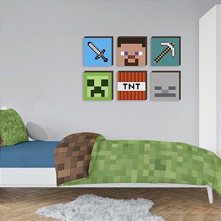 Sexteto de quadros infantil Símbolos Minecraft Mod. 01 [BoxMadeira]