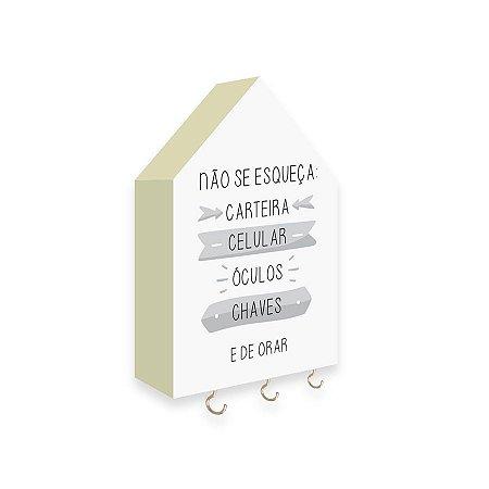 PORTA CHAVES CASINHA Não Se Esqueça Mod. 02 Cinza