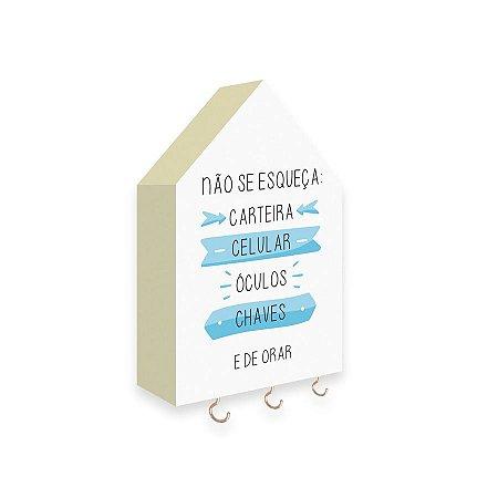 PORTA CHAVES CASINHA Não Se Esqueça Mod. 02 Azul